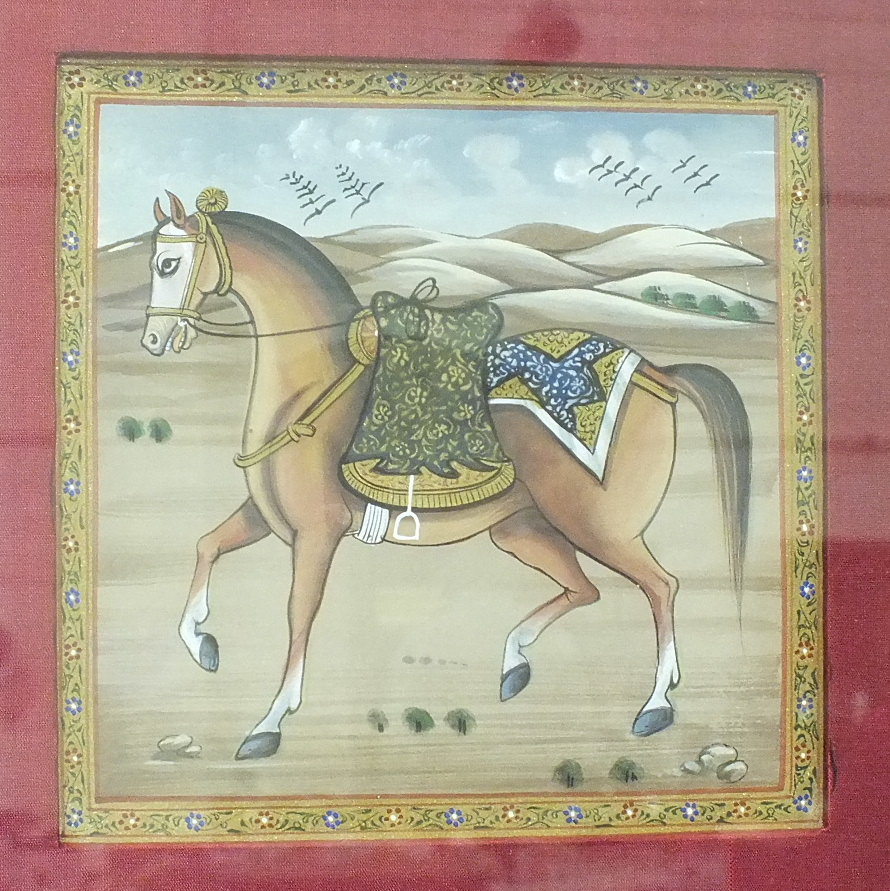 Lot 48 - Two small Indian watercolour pictures of horses in a landscape within large silk-covered mounts,