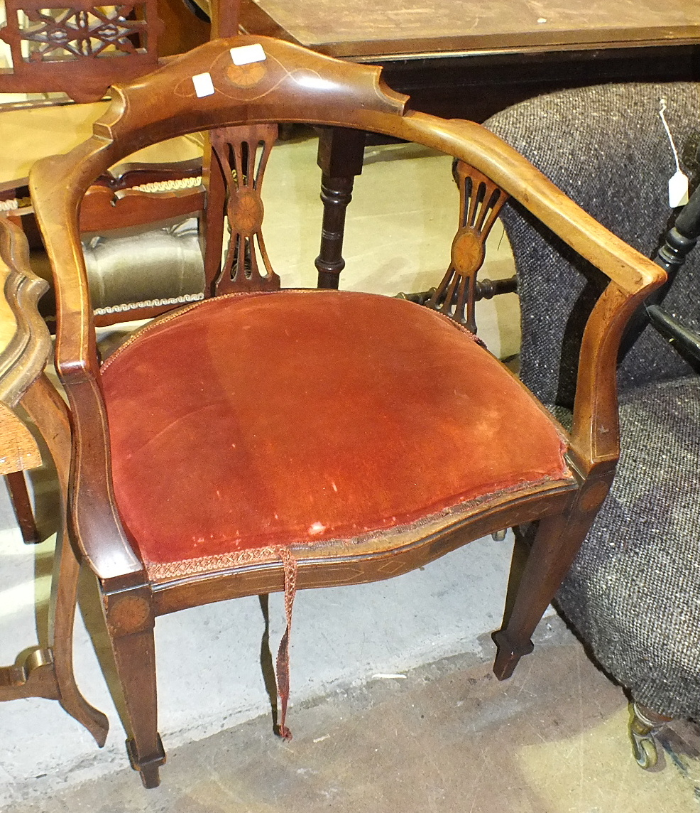 Lot 38 - A 19th century mahogany narrow drop-leaf table, 76cm x 76cm open, a Victorian low nursing chair