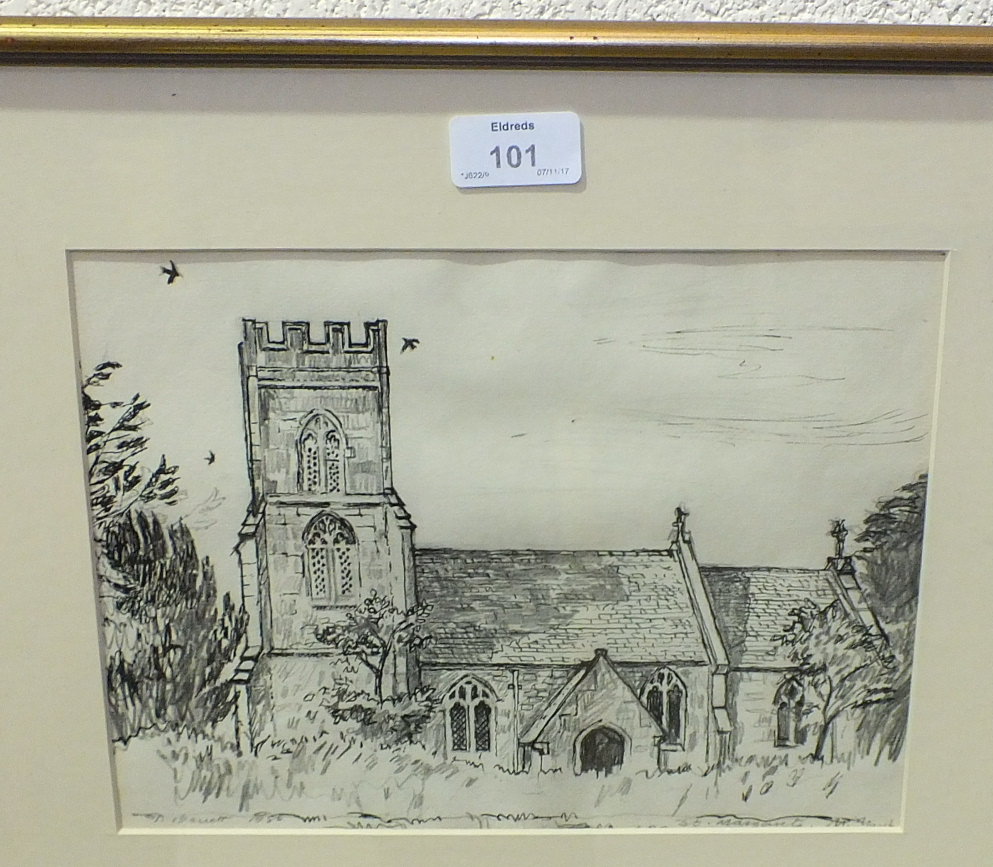 Lot 101 - Three modern gilt-framed wall mirrors and a watercolour sketch of the Church of St Margarets,