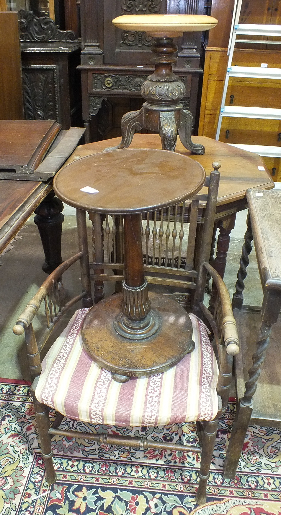 Lot 14 - An Edwardian walnut octagonal occasional table, a wooden armchair and other items.