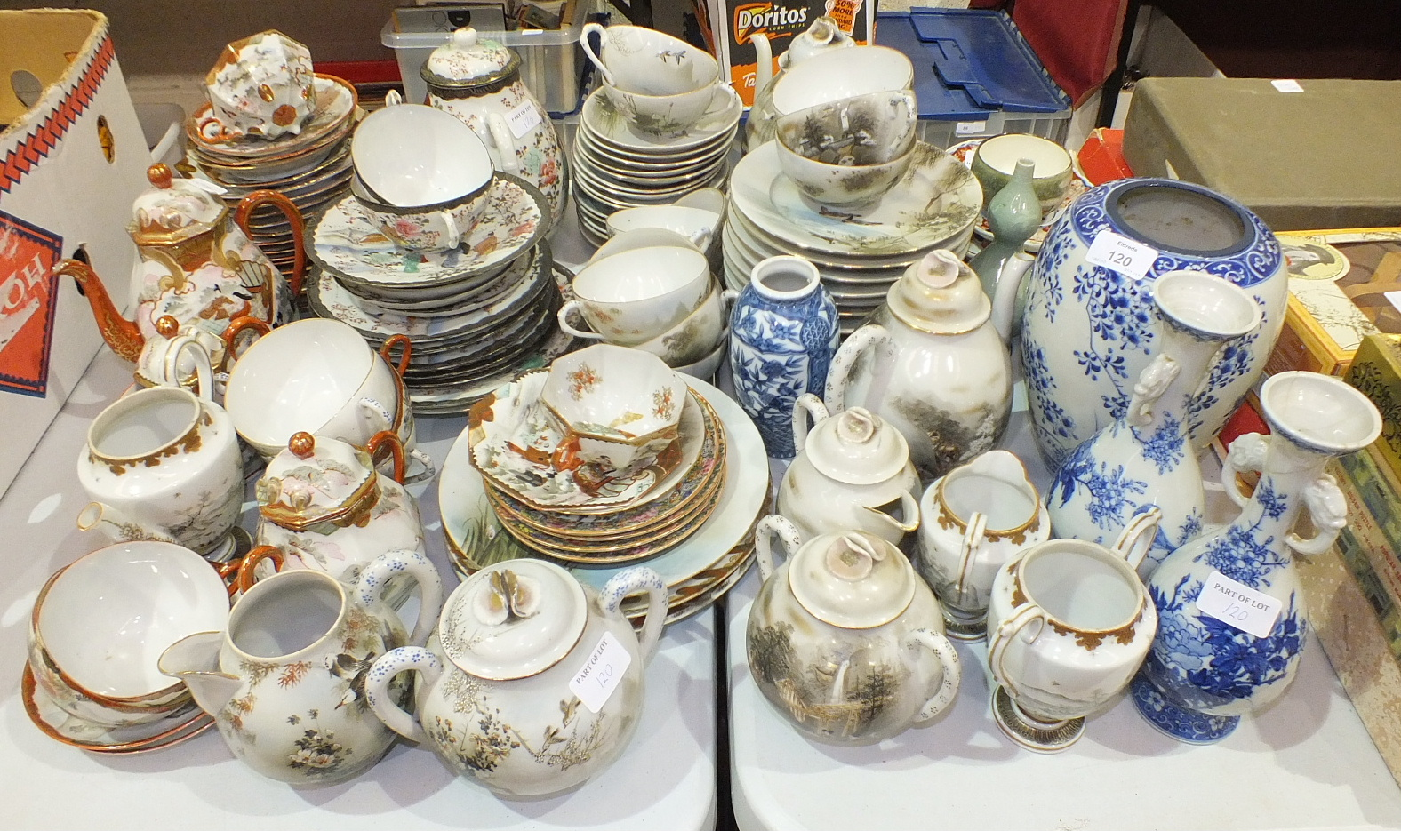 Lot 120 - A large collection of Japanese egg-shell tea ware, two small Imari dishes and other Oriental