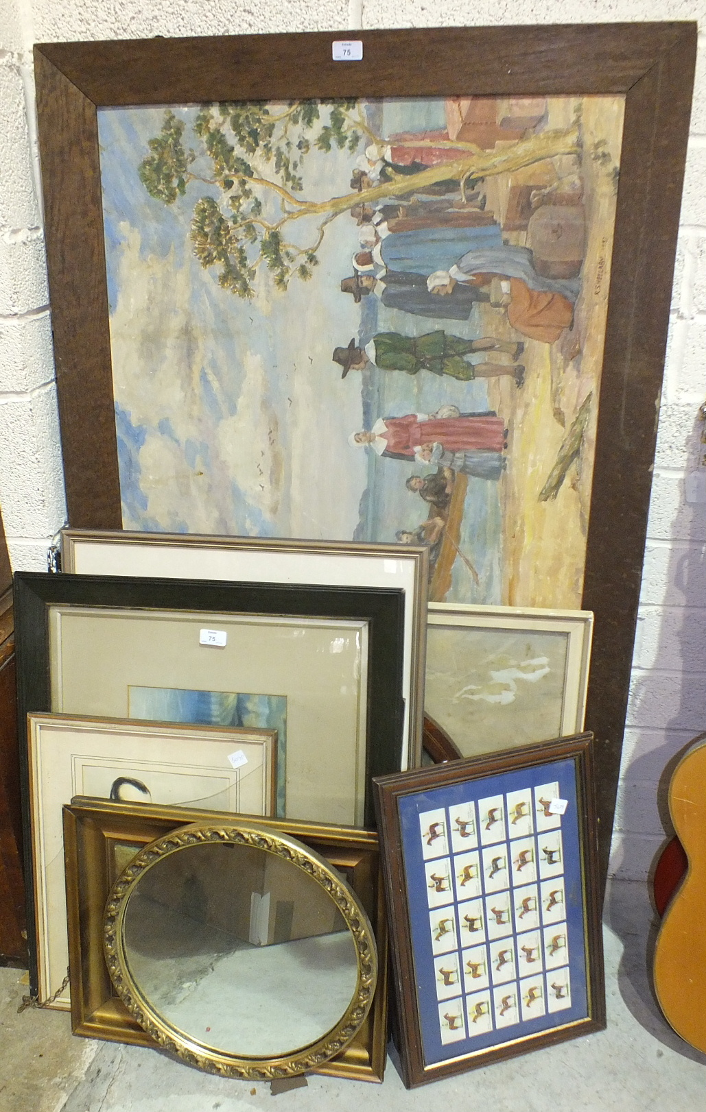 Lot 75 - A collection of watercolours and prints and two wall mirrors.
