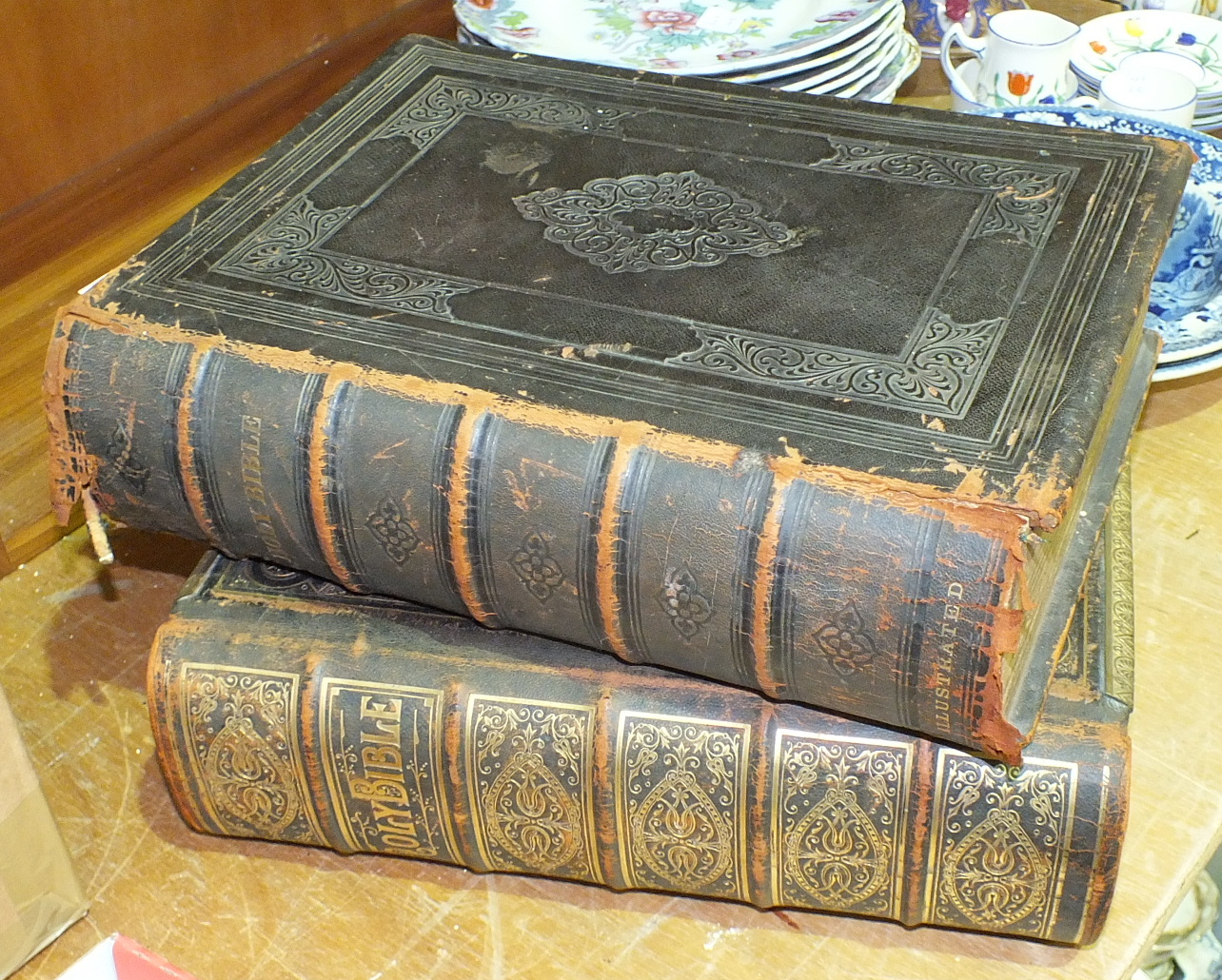 Lot 80 - A leather-bound family bible with brass clasps and one other, (2).