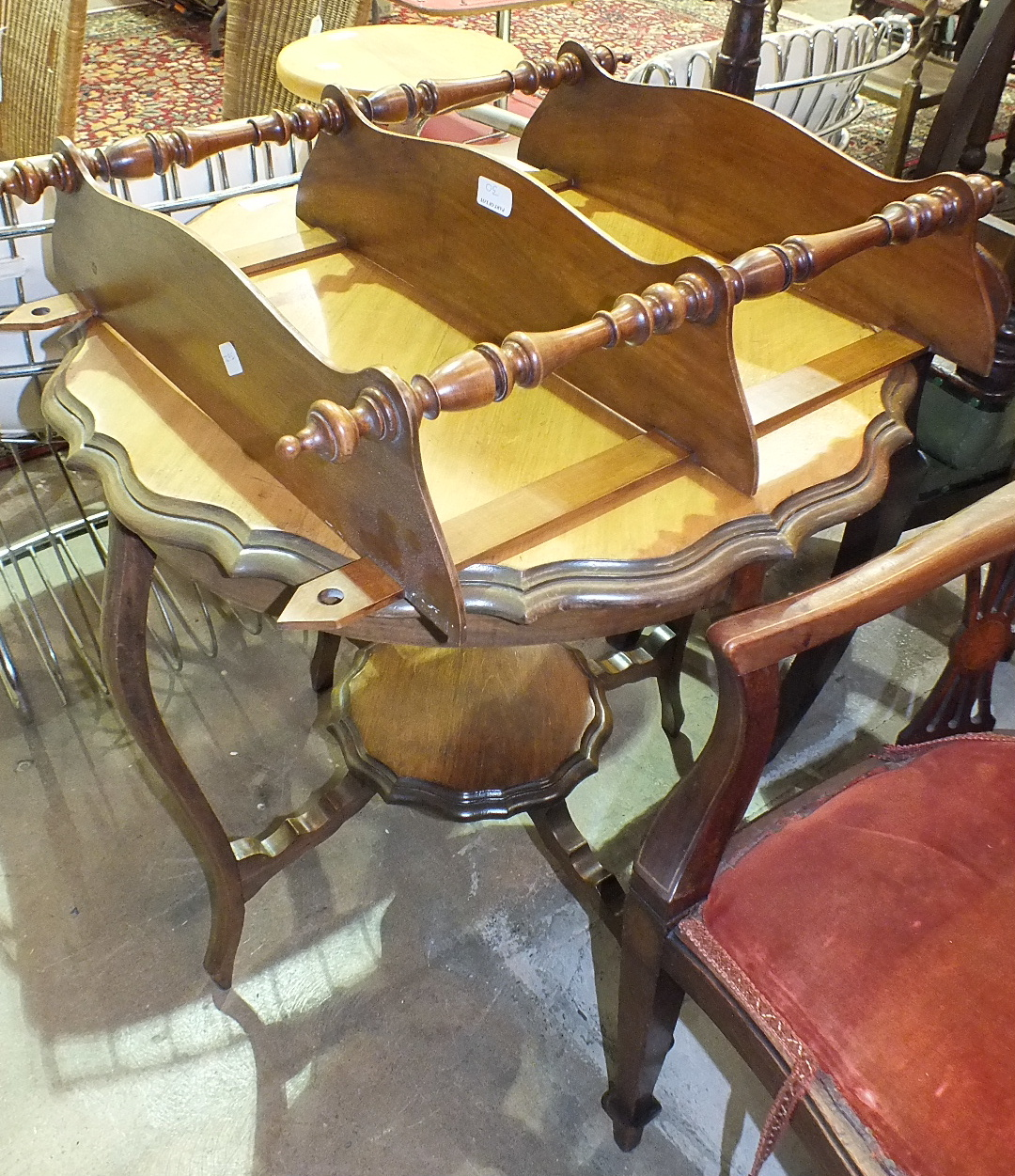 Lot 30 - Four mahogany-framed dining chairs, a three-tier wall shelf and an occasional table.