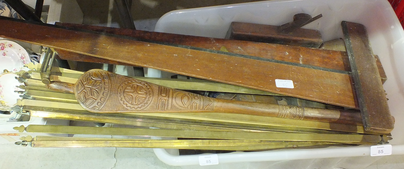 Lot 85 - A collection of wooden moulding planes, brass stair rods and miscellaneous items.