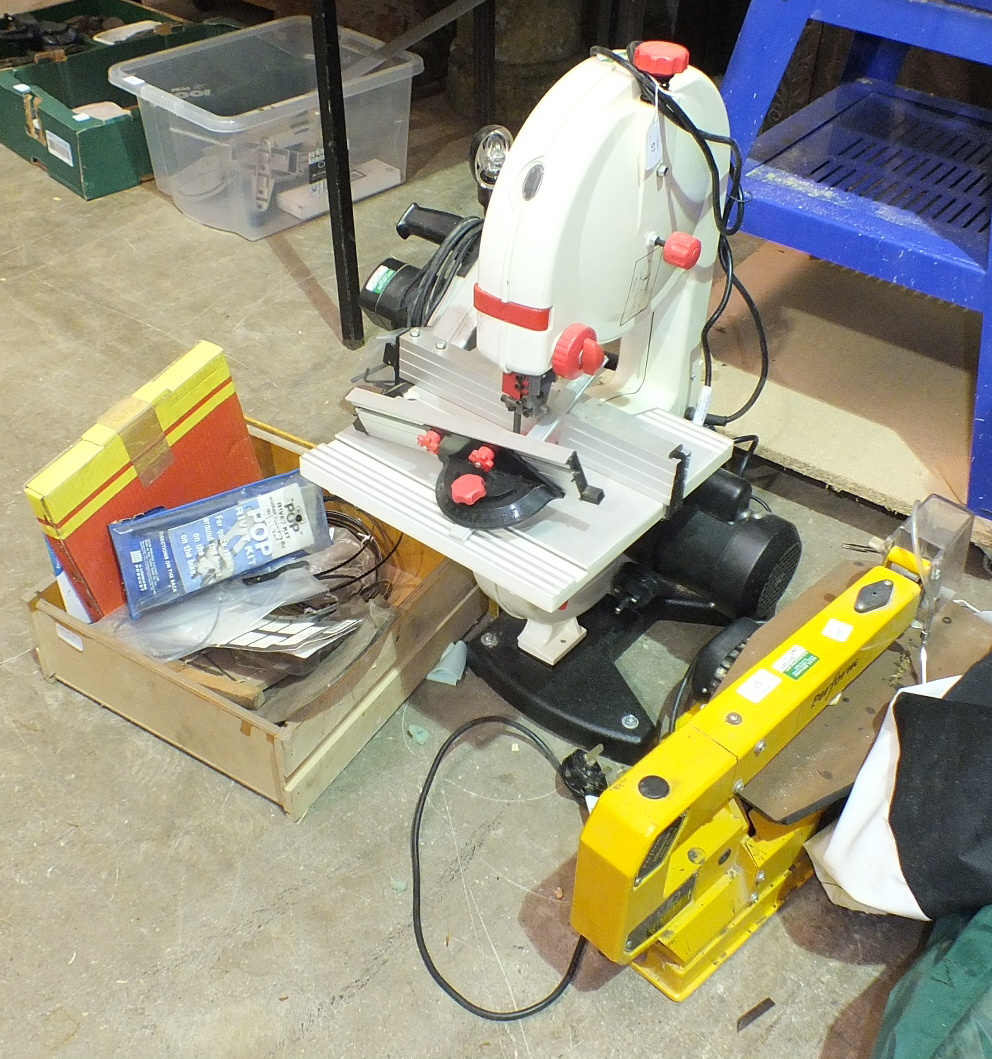 Lot 57 - A Jet JWBS-9 band saw, a Nutool MS200 205mm compound mitre saw and a Perform 400mm CCSS fret saw, (
