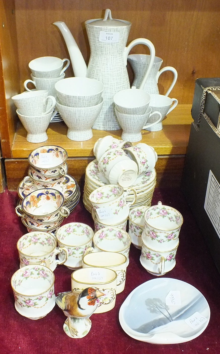 Lot 107 - A Rosenthal 1950's/60's part tea service of waisted form decorated grey on white grid pattern,