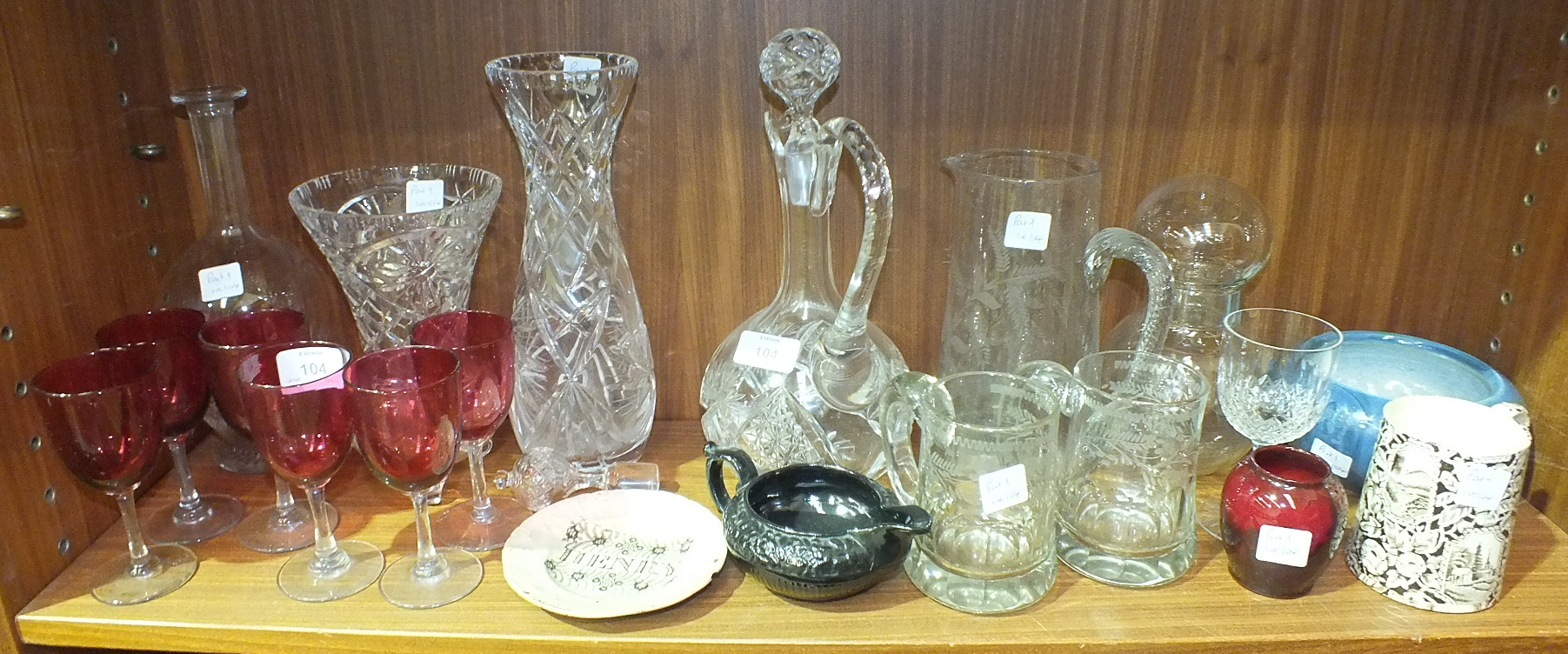 Lot 104 - A cut-glass wine jug and stopper, six cranberry Port glasses and other glassware.