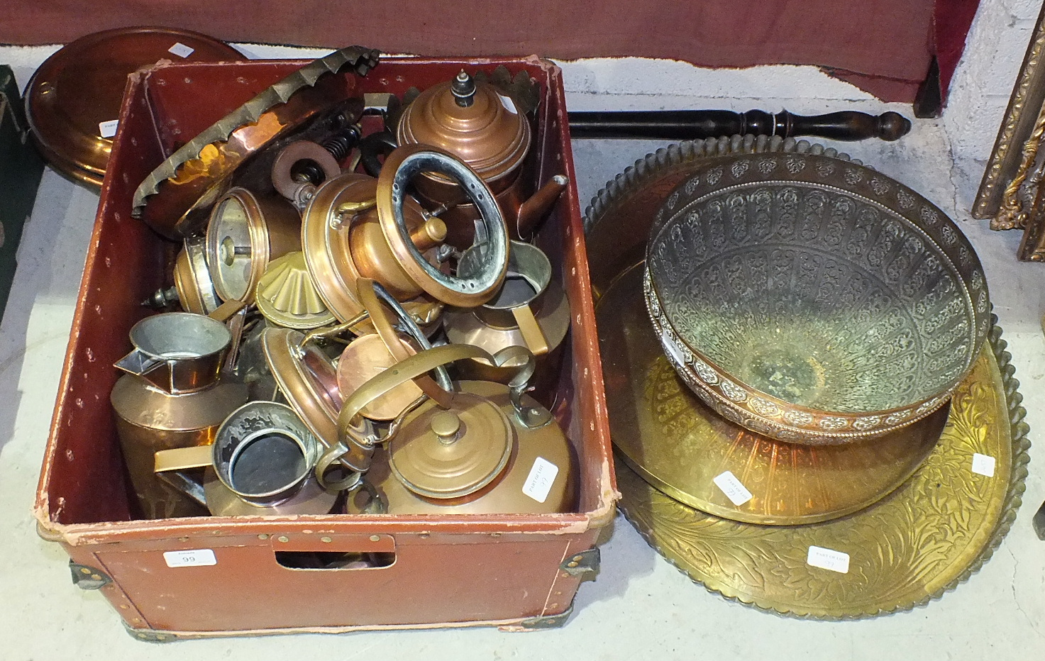 Lot 99 - A collection of copper ware, including kettles, jugs, warming pan, an oval brass tray with