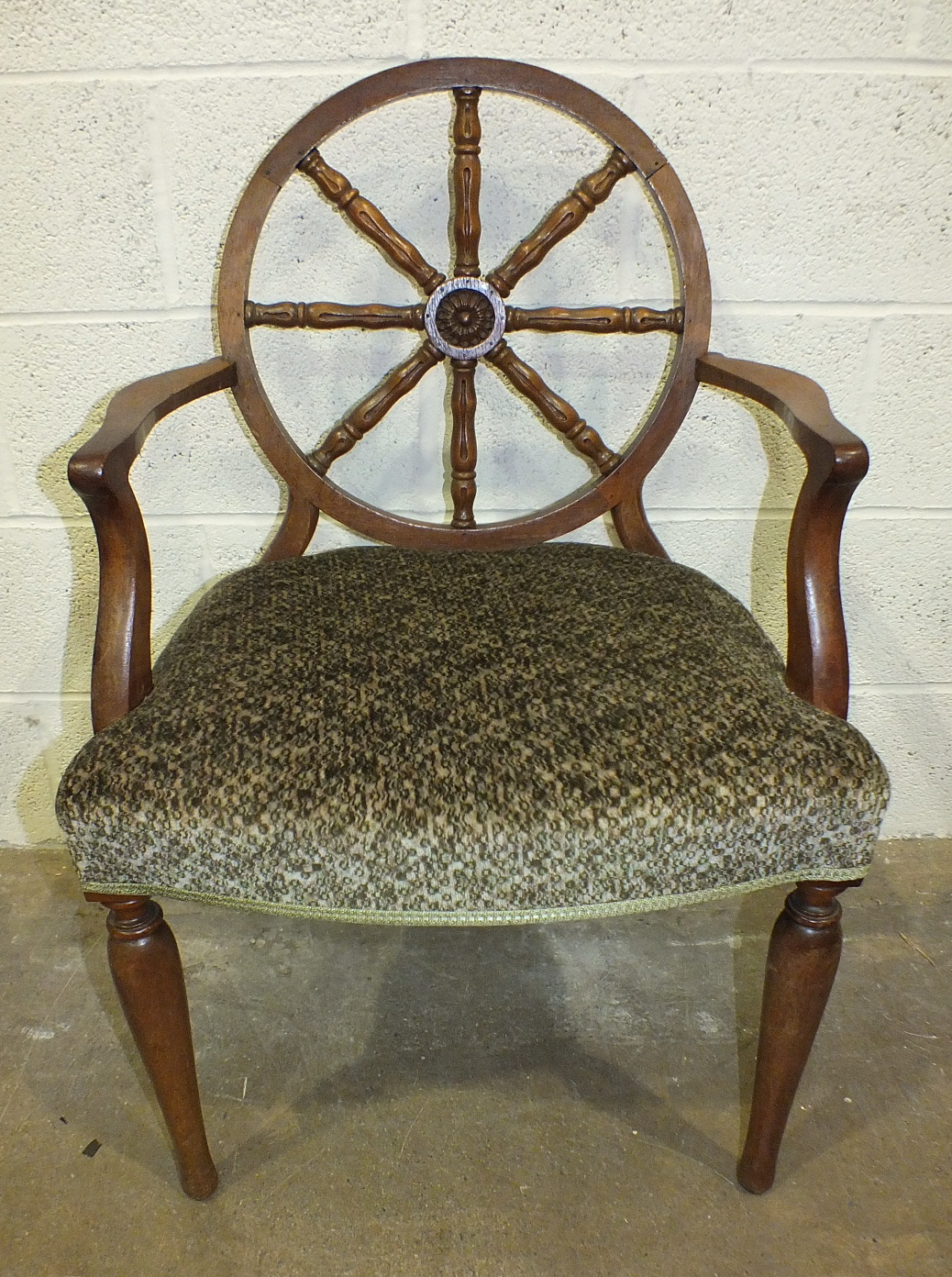 Lot 32 - A set of four late-19th century hardwood armchairs, each with upholstered seat and circular back