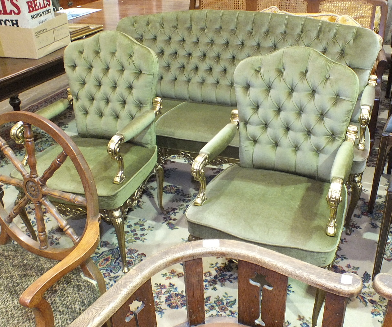 Lot 29 - A modern lacquered brass-framed salon suite in the French taste, comprising a three-seater settee