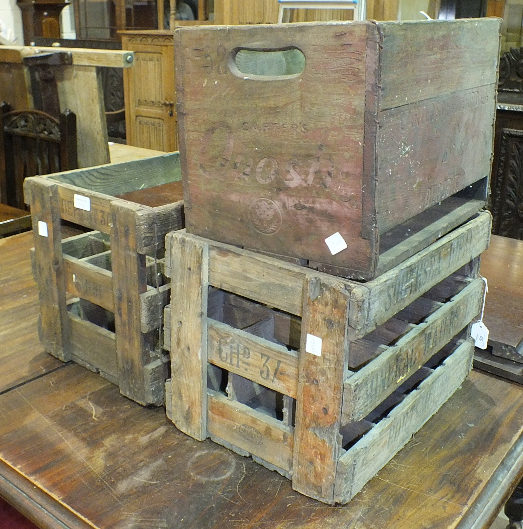 Lot 50 - Three wooden mineral water crates, Southsea Ideal Portsmouth, Star Whitstable Carters of