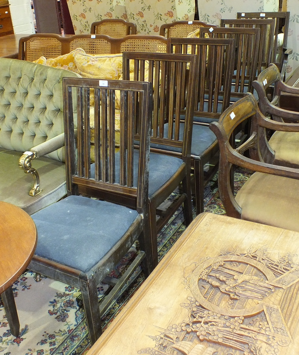 Lot 36 - A set of six inlaid mahogany dining chairs with drop-in seats, includes one carver, (6).