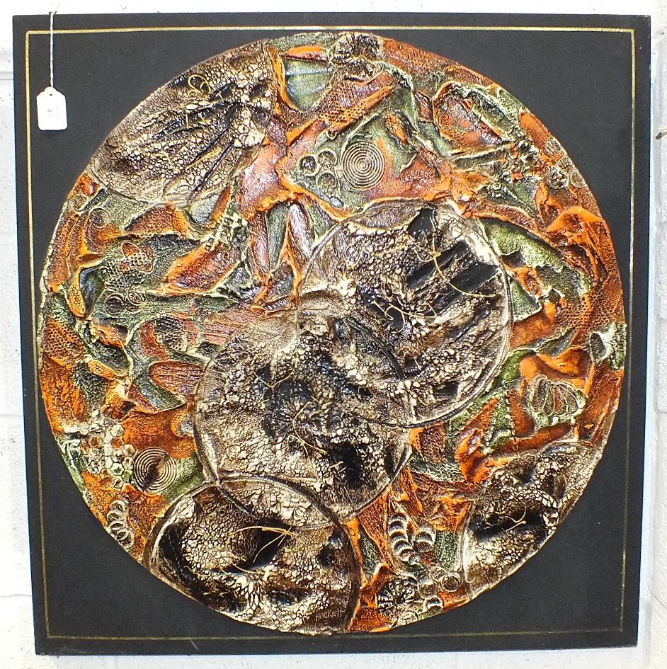 Lot 47 - Hackett, a composition abstract circular relief plaque, 76cm, also C Hahapun?, 'Village by a river',