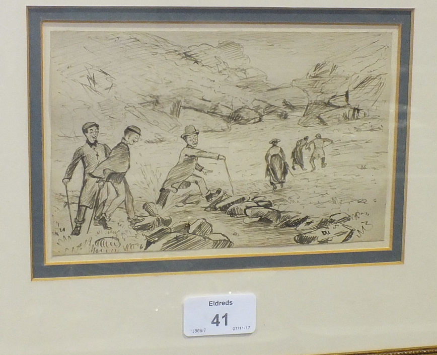 Lot 41 - An unsigned pen and ink sketch of a man wearing a suit, top hat and carrying an umbrella, running,