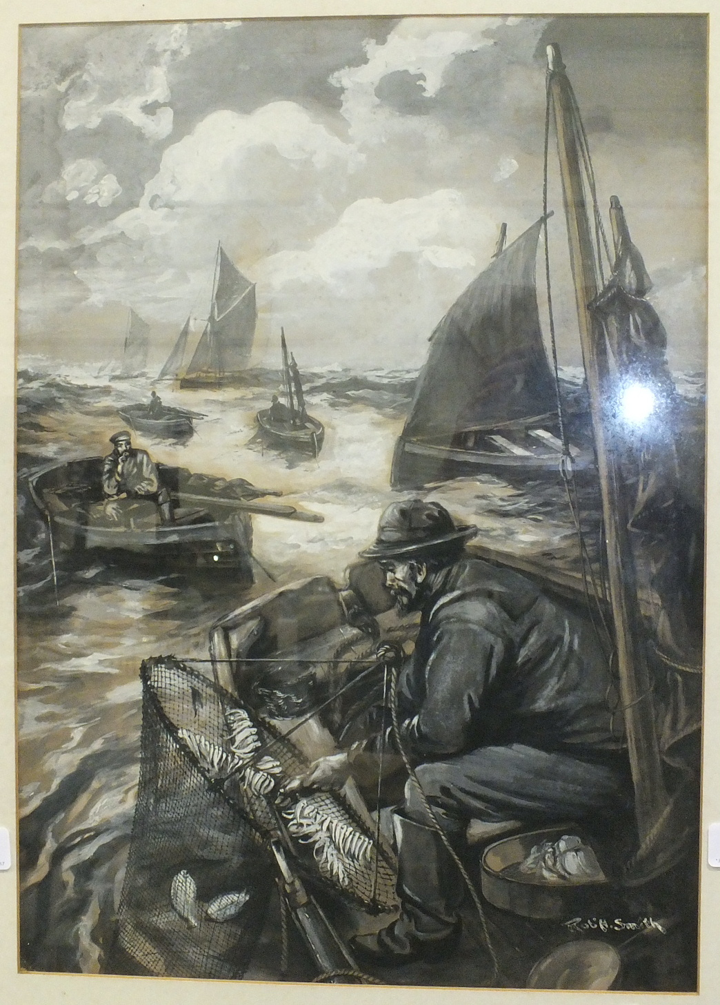Lot 46 - Rob. H Smith, 'Fishing for Dabs', a signed watercolour heightened with white, 47 x 33cm.