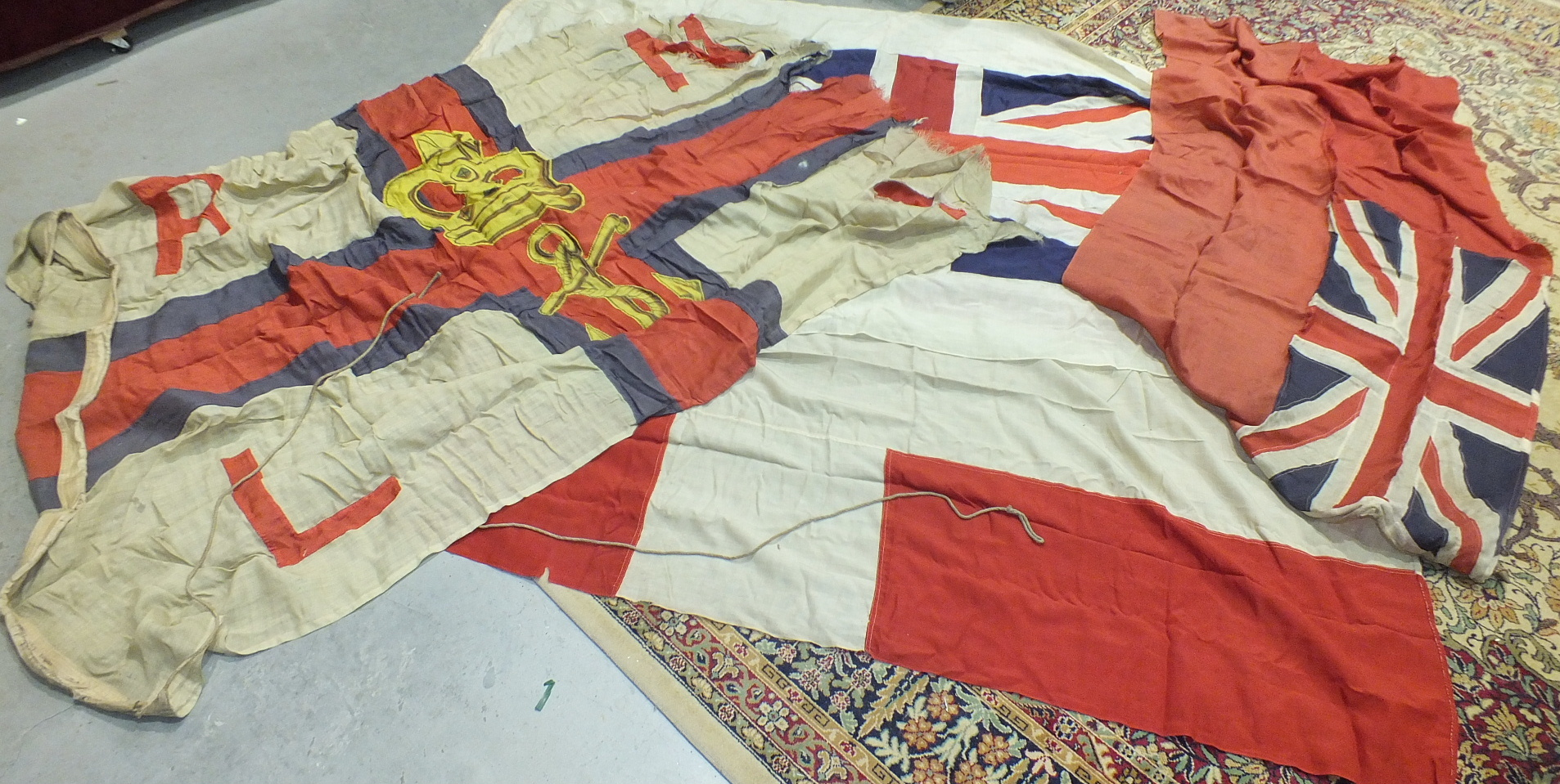 Lot 119 - A Union Jack and other flags, various prints and miscellaneous items.
