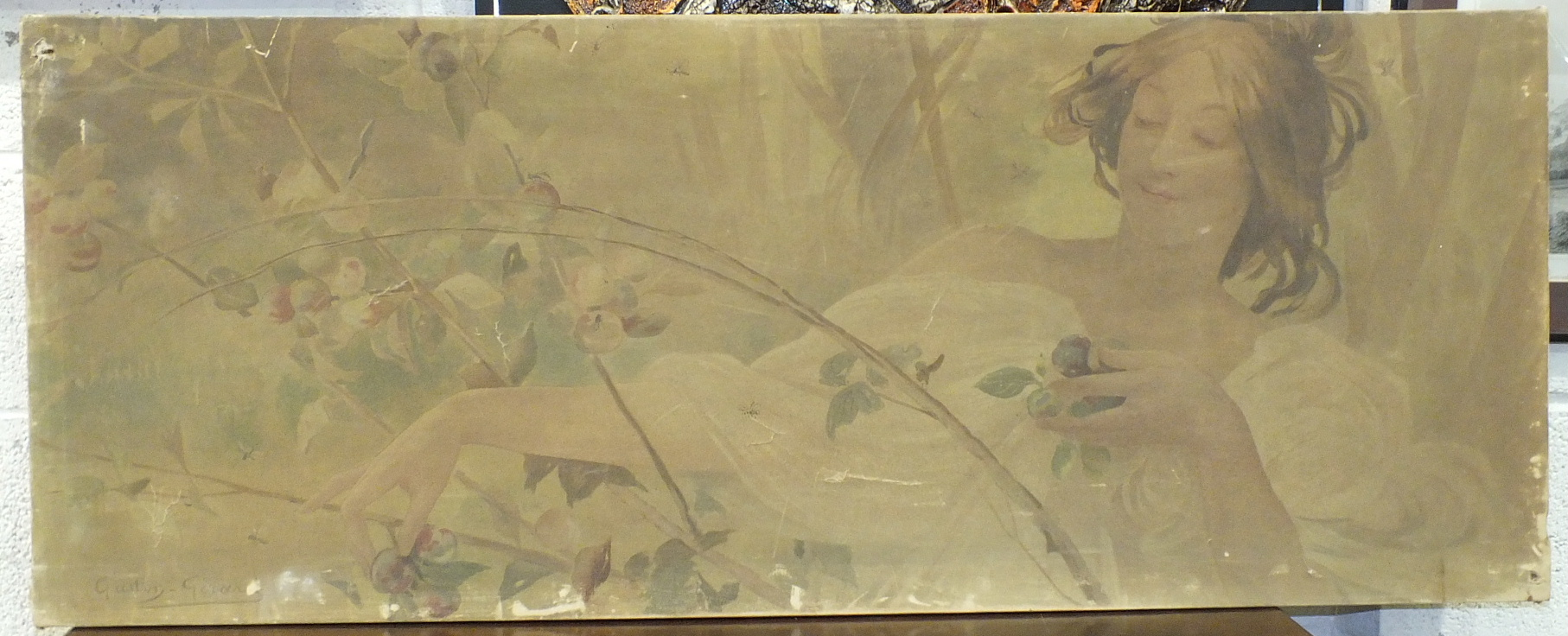 Lot 15 - After Gaston-Gerard, an Art Nouveau panel depicting a young girl amongst flowers, 49 x 124cm and a