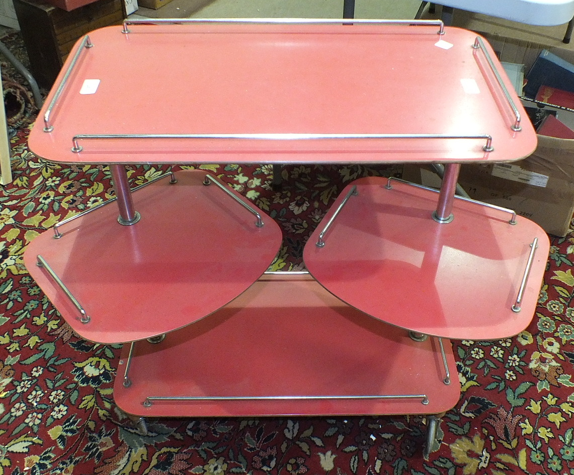 Lot 34 - A late-1950's/early-1960's melamine finish and chrome serving trolley, the two rectangular tiers and