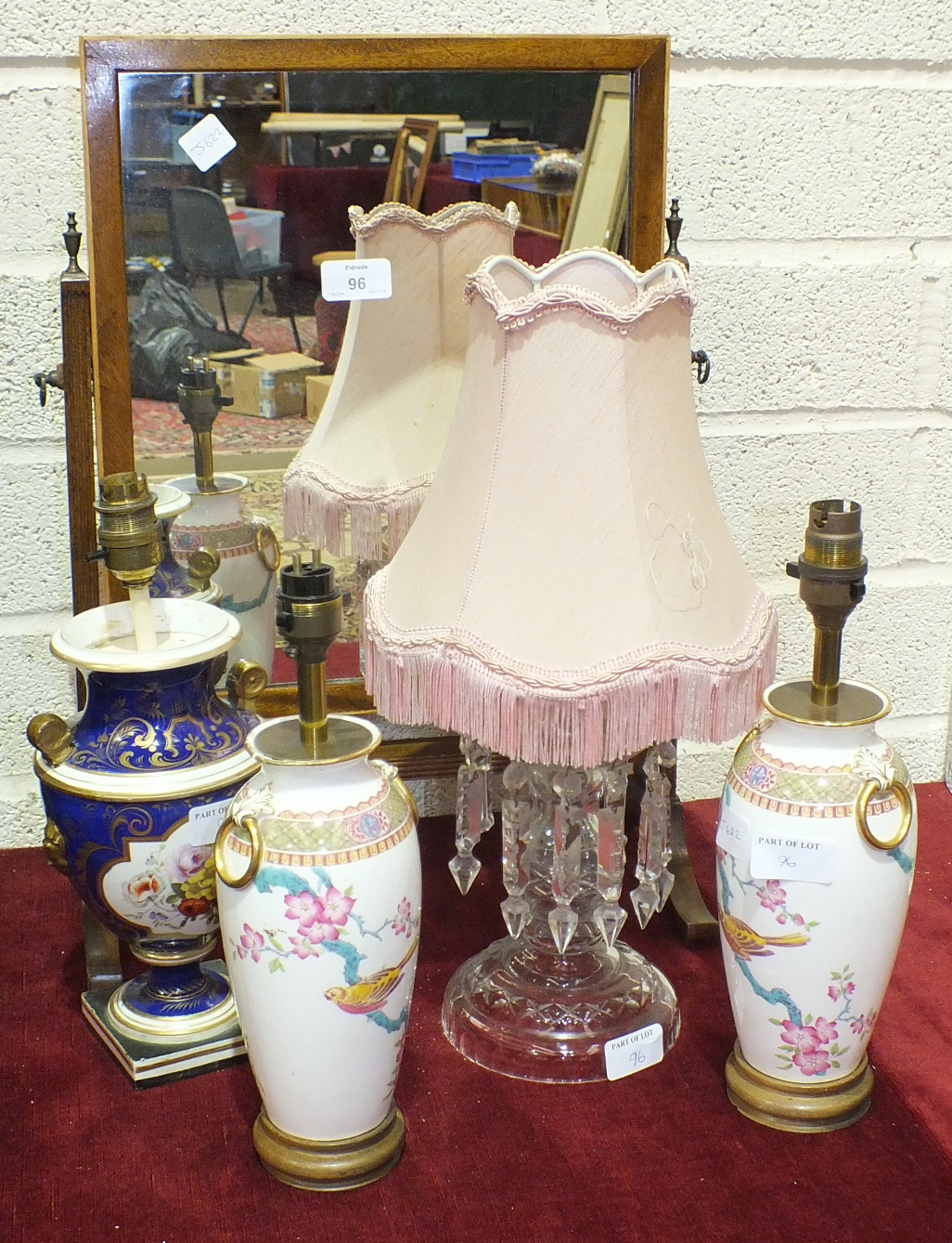 Lot 96 - A clear glass lustre-drop table lamp, a dressing glass and other ceramics and glassware.