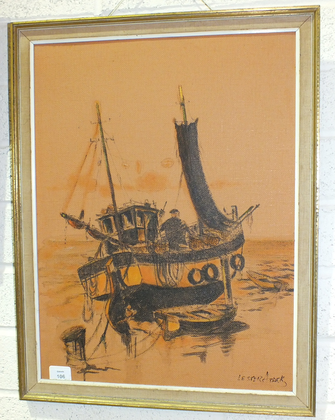 Lot 106 - Lester Atack (1900-1973), 'Fishing boats laying nets', a signed oil on canvas, 92 x 40cm and another