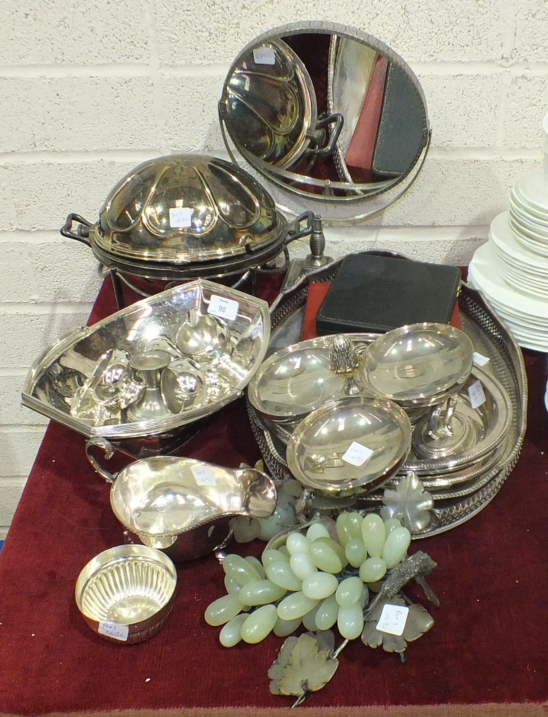 Lot 90 - A collection of various plated ware, including entrée dish, tea service, sauce boat, fruit basket,