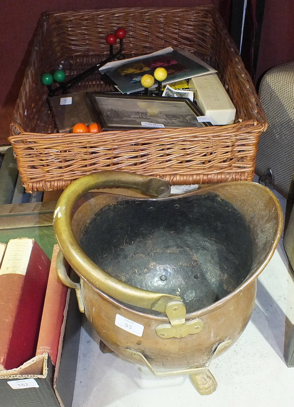 Lot 93 - Two metal coaching lamps, other metal ware and miscellaneous items.
