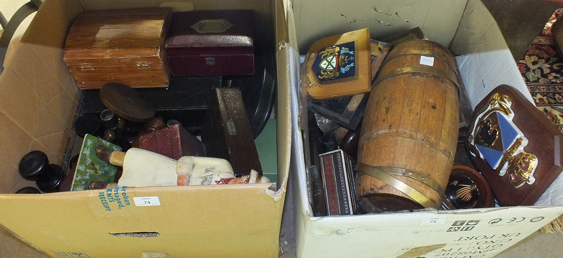 Lot 74 - A brass coopered wooden barrel, 34cm, various wooden boxes and other wooden items.