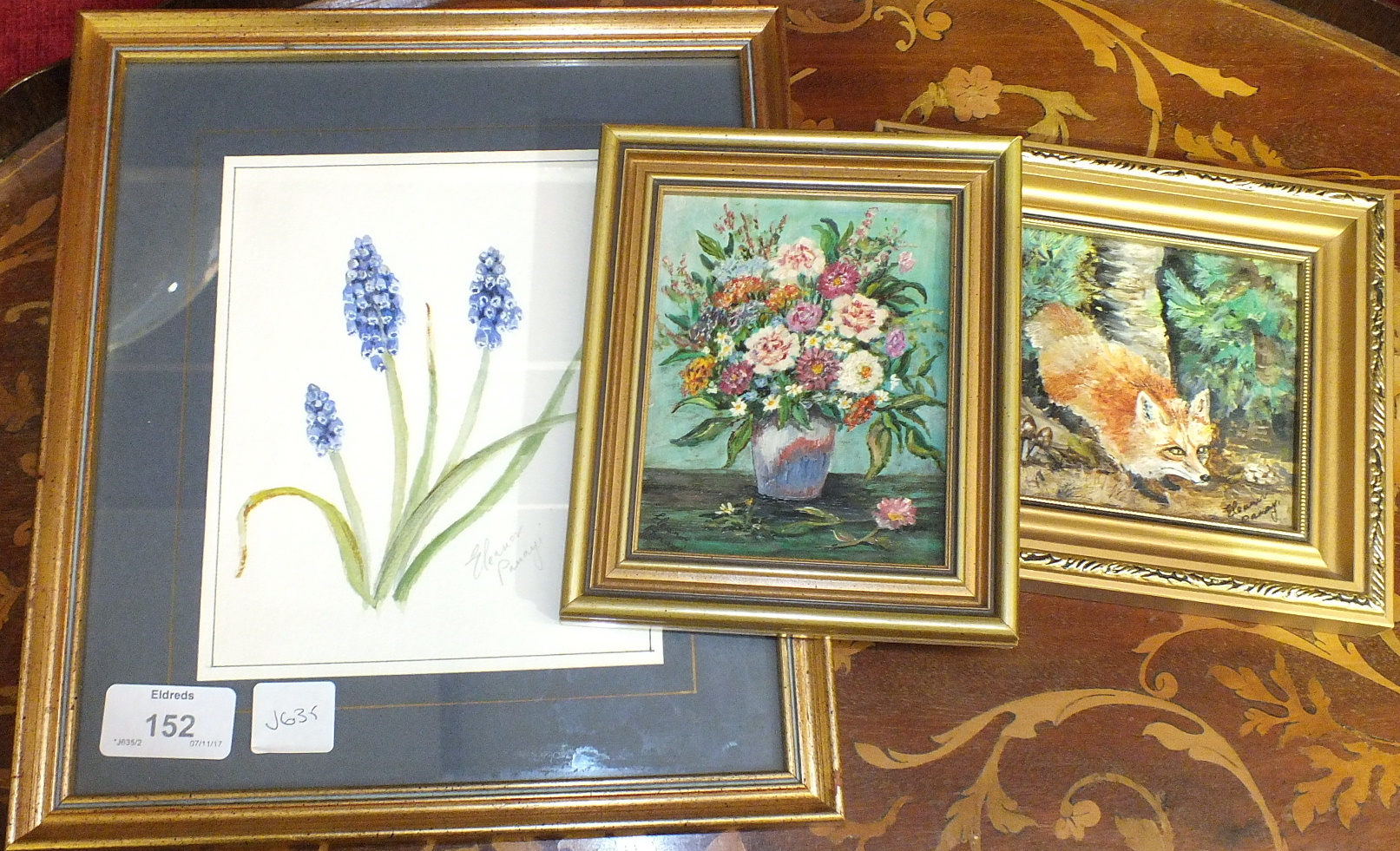 Lot 152 - Eleanor Panayi, a collection of six small framed oil paintings, four depicting landscapes, one still