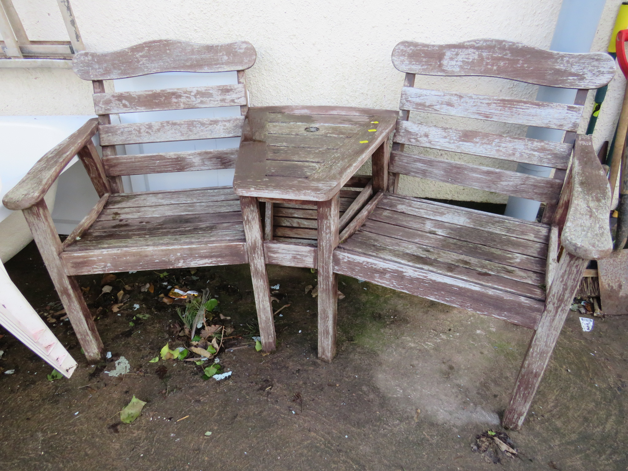 Lot 3 - TWO SEAT GARDEN BENCH WITH INTEGRAL TABLE