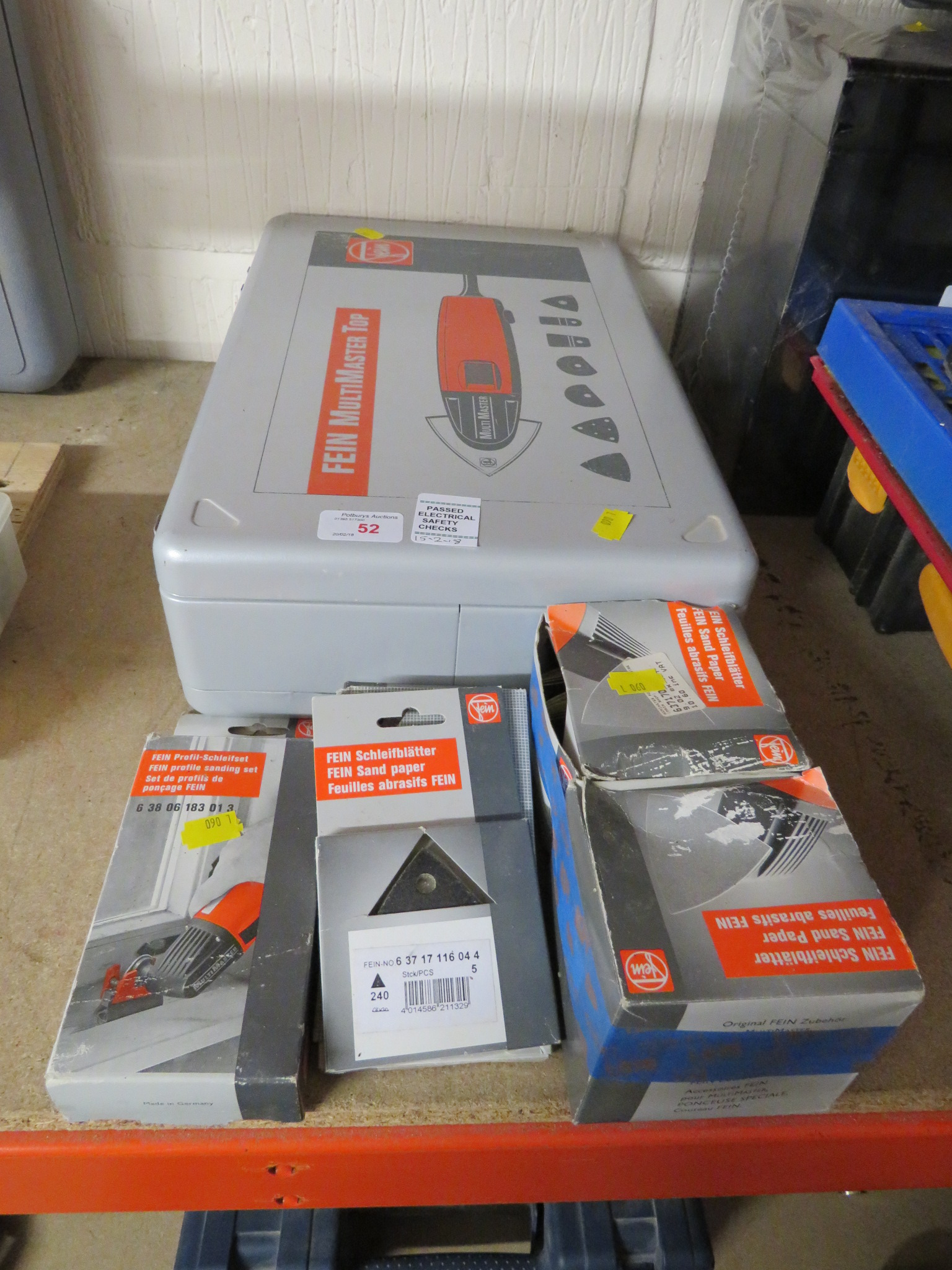 Lot 52 - CASED FEIN MULTIMASTER TOP OSCILLATING MULTI TOOL, TOGETHER WITH BOXES OF ASSORTED SANDING PAPER
