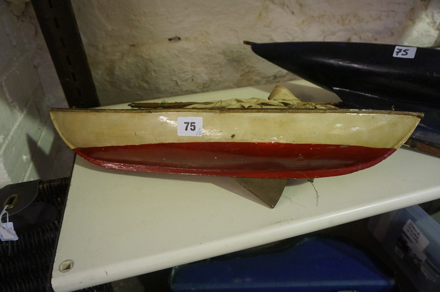 Lot 75 - Two Vintage Painted Pond Yacht Hulls, 73cm, 100cm wide, (2)