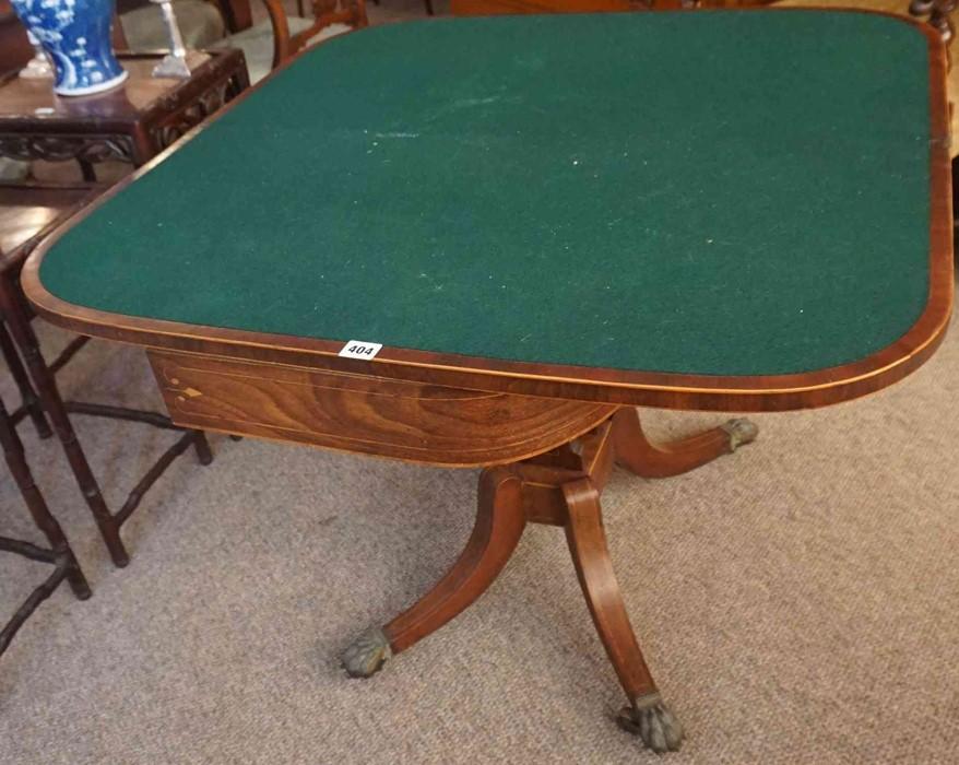 Lot 404 - A Georgian Mahogany Fold Over Tea / Games Table, Having a later green felt interior, decorated