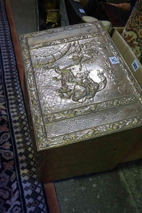 Lot 365 - A Mixed Lot of Sundries, to include a brass coal box, a small wall hanging Persian style rug,