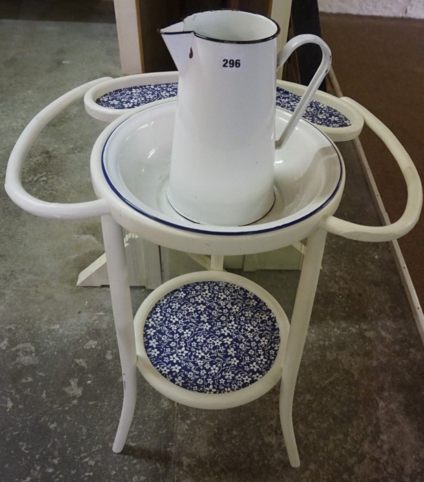 Lot 296 - A Vintage Enamel Toilet Jug with Bowl, Raised on a fitted painted two tier stand, overall
