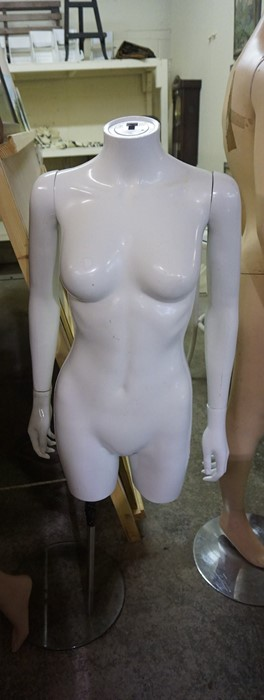Lot 308 - Three Shop Manequins, Two examples are full size, the other a torso, 132cm, 170cm high, (3)