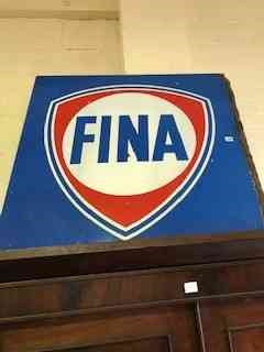 Lot 125 - A Vintage Belgian Painted Tin Shop Sign, for FINA oil company Belgium, painted in red white and