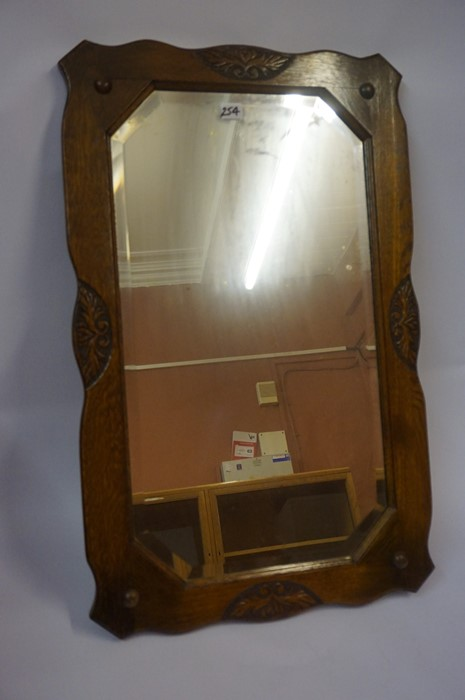 Lot 254 - A Victorian Toilet Mirror, 62cm high, 68cm wide, also with a vintage oak framed wall mirror, 81cm