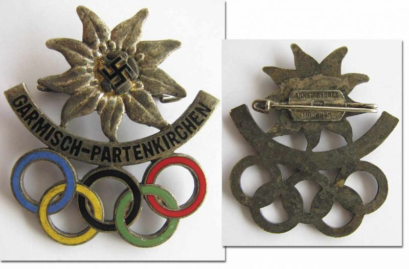Los 1134 - Olympic Games 1936. Commemorative badge - Edelweiss badge with swastika and Olympic rings. Bronze,