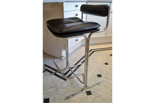 Fabulous 4 X Pieff Eleganza Bar Stools In Black Leather And Chromed Short Links Chair Design For Home Short Linksinfo