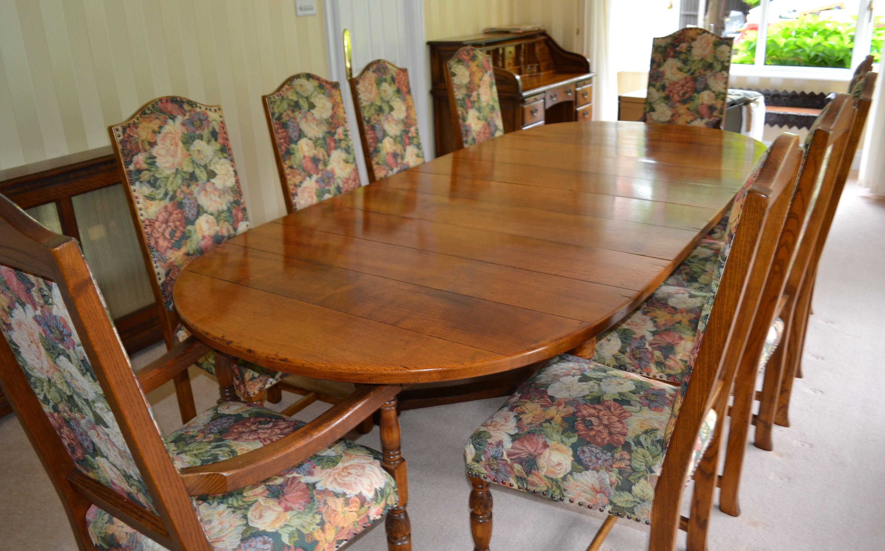 1 x 10 seater oak dining room suite size adjustable for 8 seater dining room suites