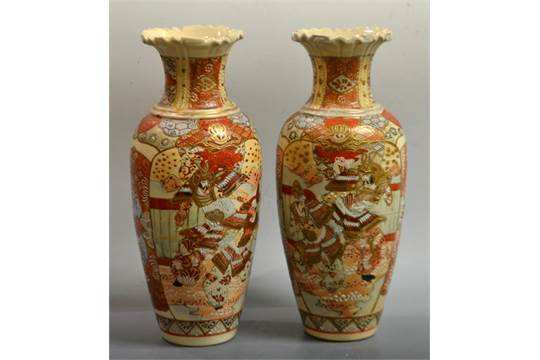 A Pair Oif Japanese Satsuma Pottery Vases Painted With Samuri