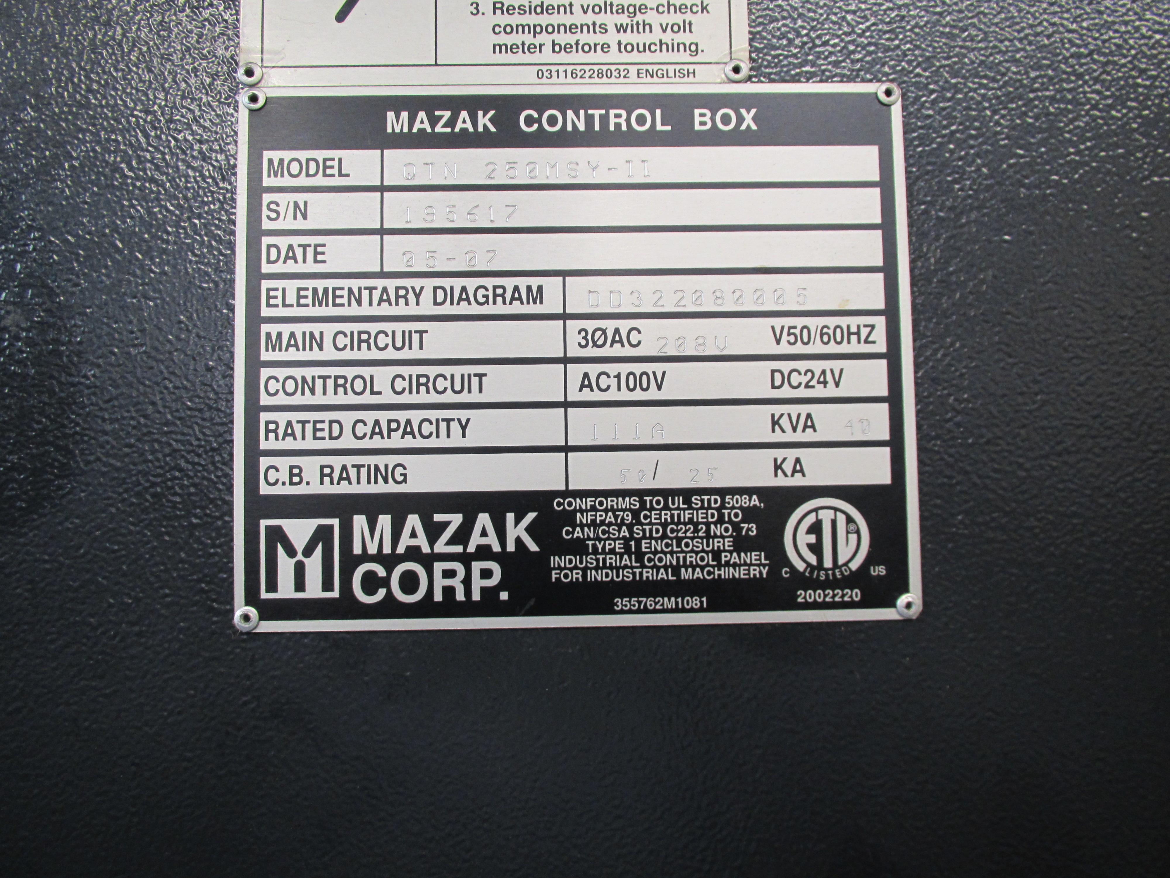 MAZAK QUICK TURN NEXUS 250-II MSY CNC TURNING CENTER - Image 16 of 16