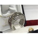 FINE WHITE & CHOCOLATE DIAMOND RING SET IN WHITE METAL - TESTED AS 18ct WHITE GOLD