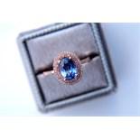 *Beautiful* 2.00ct Blue Sapphire & Diamond Halo Ring - Rose Gold Setting