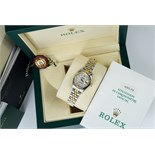 ROLEX *DIAMOND* LADY DATEJUST - 18K GOLD & STEEL with WHITE MOP DIAMOND DIAL