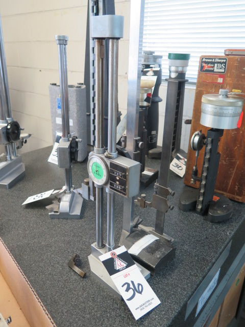 """12"""" Dial Height Gage, Metron 18"""" Vernier Height Gage and Starrett 12"""" Vernier Height Gage"""