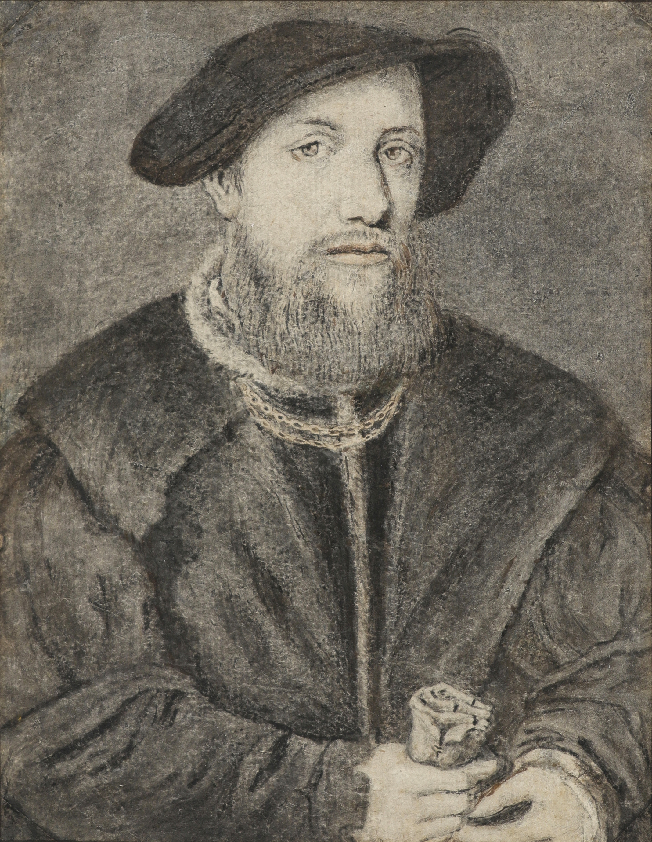 Lot 56 - Manner of Jan Gossaert Portrait of a gentleman holding gloves Black and red chalk, pen and brown in,