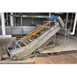"Custom Designed and Fabricated 40""W x 12' Stainless Steel Product Incline Conveyor, Includes Belt"