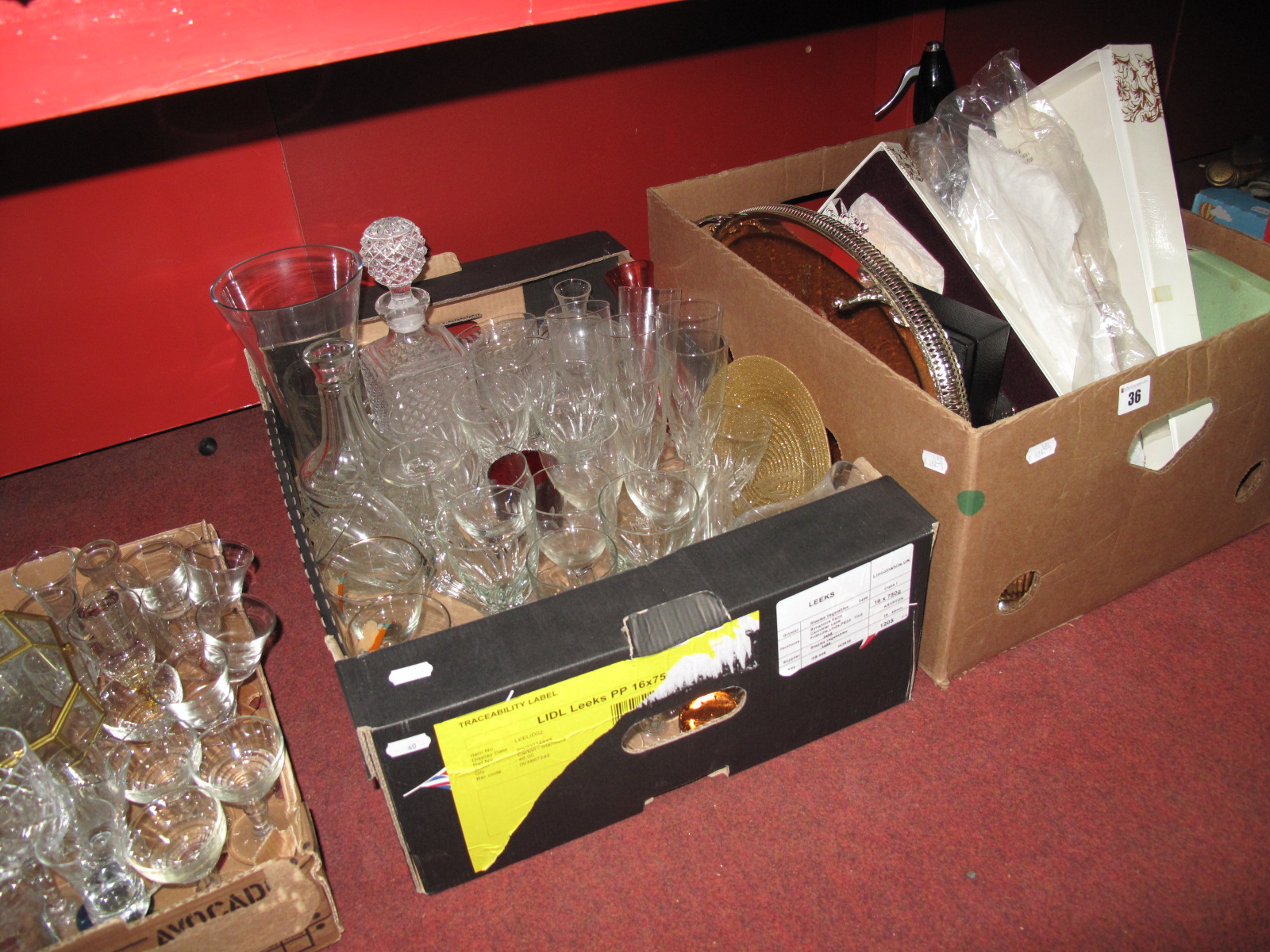 Lot 36 - A Soda Syphon, chrome cocktail shaker, decorative plated ware, cut and other glassware, etc:-